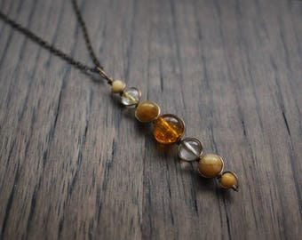 Solar Plexus / Sacral Chakra Pendant - Wire Wrapped Chakra Necklace Energy Healing Crystals Gemstone Pendant Meditation Yoga Necklace