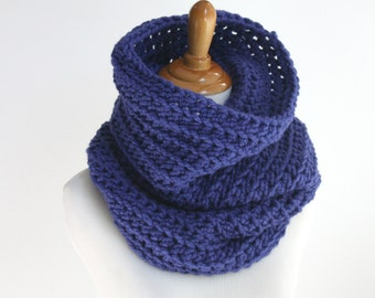 Knit Cowl Scarf, Chunky Knit Cowl, Circle Scarf, Neckwarmer, Cobalt Blue Scarf
