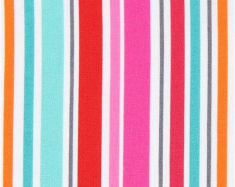 216580 white pink red Michael Miller fabric colorful stripe All in a Row