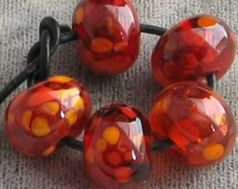 Cherry Marmalade  Lampwork Spacer Beads Apple Red Translucent  Choose 2 4 5 or 6 Bead Sets