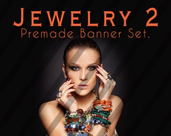 "Banner Set - Shop banner set - Premade Banner Set - Graphic Banners - Facebook Cover - Avatars - Bisiness Card - "" Jewelry 2"""