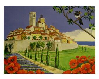 Saint-Paul-de-Vence, Mediterranean France French Riviera, Bird on branch, Original illustration Artist Print Wall Art, Free Shipping in USA.