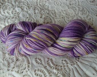 "Hand Dyed Yarn Merino Cashmere Nylon Sock  ""Purple Garden"""