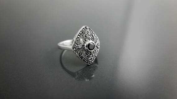 Marquise Marcasite Ring, Sterling Silver, Vintage Ring, Lab Black Diamond Simulant, Retro Black Stone Rings, Women's Gifts