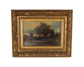 19th Century Joseph Antonio Hekking American Landscape Gilt Frame Detroit Label
