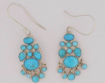 Emory Silver Studio *Sleeping Beauty Turquoise Sterling Silver .925 Dangle Earrings*