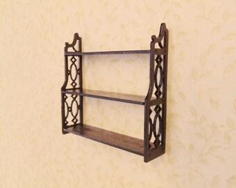 1:12 Scale Dollhouse miniature Chippendale wall shelf