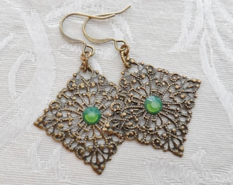 1/2 price sale, Brass Lace Earrings with Vintage Green Opal Swarovski Crystal