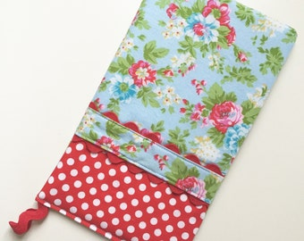 Oven Mitt - Hot Pad Delilah Floral in Red and Blue