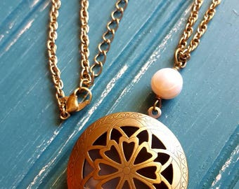 Essential oil diffuser necklace, aromatherapy necklace,  freshwater pearl