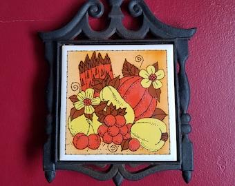 Vintage Trivet- Cast Iron, Ceramic Tile, Harvest Decor,  Pumpkins, Squash, Fall Vegetables, Thanksgiving, Hot Plate, Hot pad