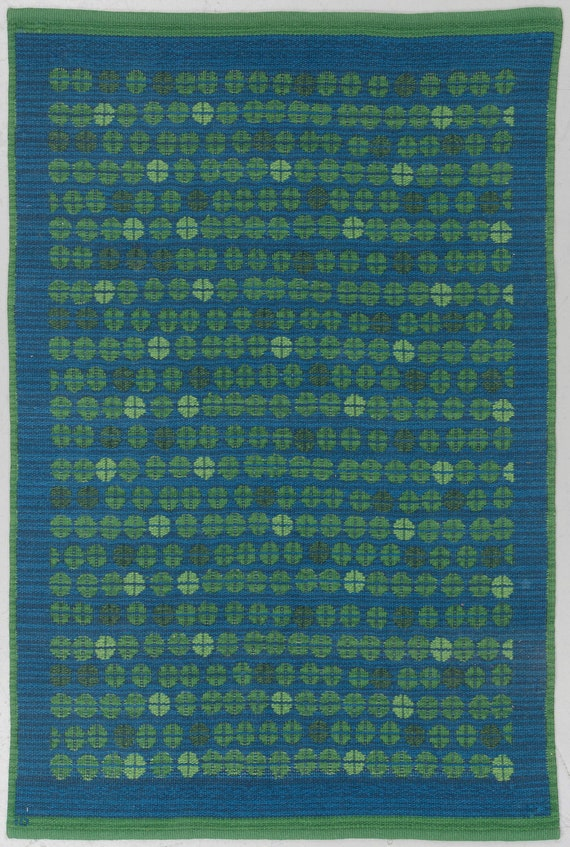 Vintage Swedish flatweave rolakan by Ingrid Dessau for Kasthall circa 1950's, size 199 x 131,5 cm, signed ID.
