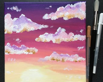 Purple to bright yellow sunset 8x8 in