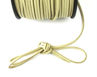 Suede leather BEIGE 3 mm cord / 1.5 mm X 1 meter