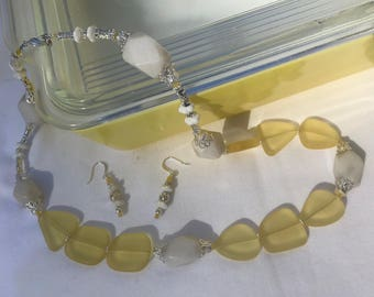 "Necklace and Earring Set Made with Lemon ""Sea Glass"" and White Snow Jade"