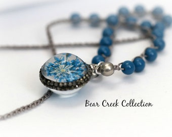 Flower Necklace, Blue, Glass, Orb, Pave Crystals, Nature, Sparkle, Boho Style, Charm Necklace, Layering, Crochet Jewelry, Knotted Necklace