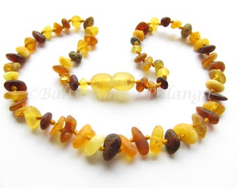 Baltic Amber Teething Necklace, Raw Unpolished Multicolor Beads