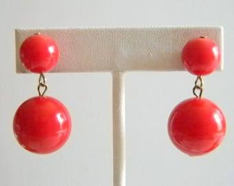 Fun Red Beaded Dangle Pierced Earrings