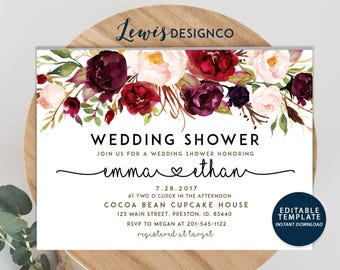 Wedding Shower Invitation, Fall Floral Bridal Shower Card, Couples Shower Invite, Editable Card Printable Instant Download Wedding Invite