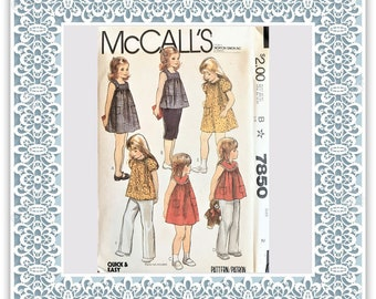 McCall's 7850 (1982) Toddlers' and children's dresses or tops - Vintage Uncut Sewing Pattern