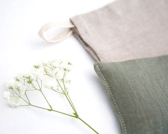 Linen Eye Pillow - Lavender Eyepillow - Spa gift - Organic flax pillow - Yoga Prop - Eye Pillow for Mom - Aromatherapy - Sleep Aid - Green