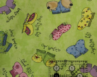 """Ador-label baby booties 100% Flannel cotton fabric   42""""-44"""" wide by Wilmington Prints"""