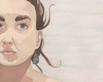 Woman's Portrait Watercolor Painting One of a Kind