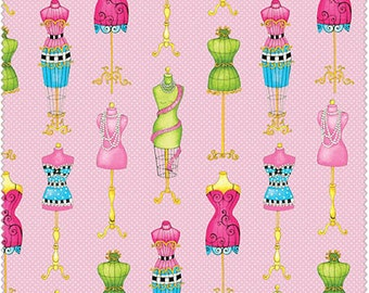 NEW Henry Glass, Cute as a Button, Mannequins on pink polka dots, yard