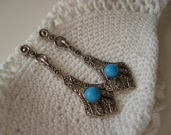 SALE Vintage Art Deco Marcasite Opaque Turquoise Glass Silver Earrings