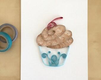 Quilling Paper Tan and Blue Cupcake Home Decor, Chocolate Pale Blue Cupcake, Boys Nursery Decor, Country Cupcake Art, Bakery Art Decor