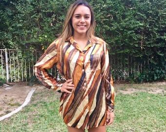 Harvey Bernard , Silk blouse, orange, brown, 8, size 8,1970s