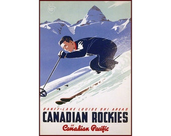 Lake Louise Banff Canadian Rockies Ski Area Vintage Poster Print Retro Style Travel Mountain Winter Skiing Free US Post