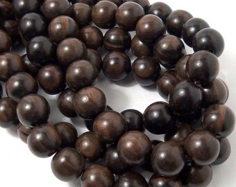 Tiger Ebony, Round, 14mm-15mm, Dark Brown, Black, Large, Smooth, Natural Wood Beads, 16 Inch Strand, 28-30pcs - ID 1551
