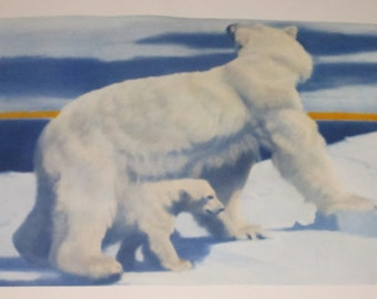 "Fred Machetanz ""Beginnings"" Limited Edition Alaskan Artist Lithograph / Polar Bear"