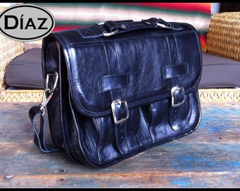 DIAZ Mini Leather Messenger Satchel / Backpack Laptop Briefcase in Florencia Black - (11in MacBook Air) - Free Shipping -