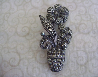 Sterling Silver Marcasite 1950's Flower with Pot Brooch