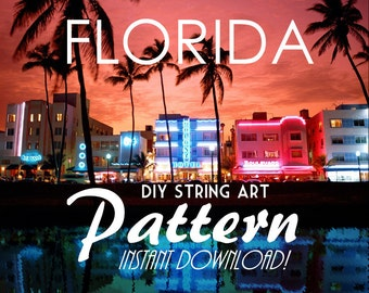 """Florida - DIY State String Art Pattern - 10"""" x 9.5"""" - Hearts & Stars included"""