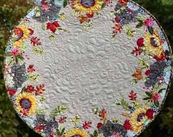 MarveLes AUTUMN SHIMMER Sunflower Leaves Reversible Floral Large Round Custom Quilted Table Topper Runner Pink Blue