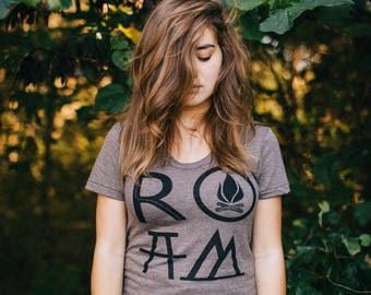 Camping Tshirt Women, ROAM Hiking Shirt, Wanderlust Gift for Her, BLACKBIRDSUPPLY Sale, PNW Adventure Shirt