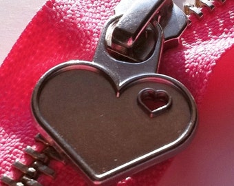 Metal Teeth Zippers with Special Heart Pull - YKK- 1 Piece- Flamingo Pink 335- Available in 7 and 12 Inches
