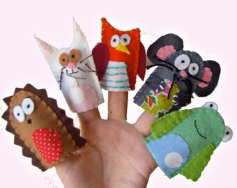 Wildlife Finger Puppets / Children's Animal Felt puppet / Christmas Stocking Filler / Kids / Baby Toys - 5