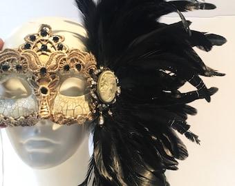 Venetian Masks- Black Masquerade Mask- Lase Mask- Mardi Gras Mask- Feather Mask -Gold Masquerade Mask- Mask in NYC- Mardi Gras- Masquerade