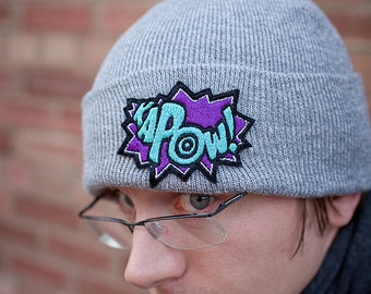 Beanie Knitted Hat, KAPOW, Comic Inspired Knitted Hat, Various Colours, Purple and Turquoise Kapow
