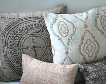 Barkcloth Collection // Throw Pillow Covers 28x28 + 10 Sizes // Retro Ivory Pillows // Handmade Block Print Pillows