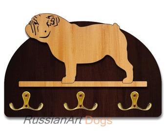 Hanger / holder leashes with figurine English bulldog dog, rack key of wood, handmade