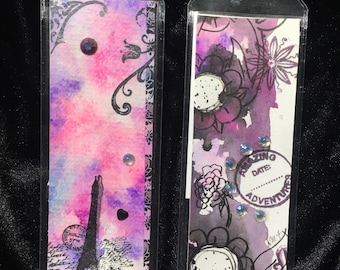 Summer Reading Bookmarks unique watercolor ink gems mixed media travel flowes Paris stamps