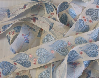 Vintage White trim - pastel blue and pink leaves and  berries- 2 yards