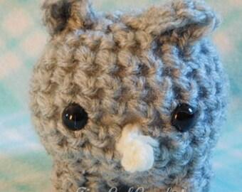 Crochet Mini Rhino Rhinoceros Zoo Animal Cute Amigurumi Plush Made To Order