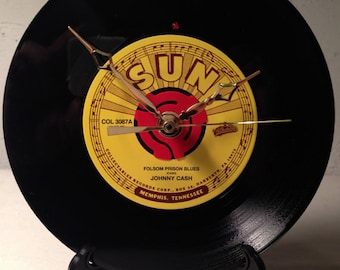 """Recycled JOHNNY CASH 7"""" Record • Song: Folsom Prison Blues • Record Clock"""