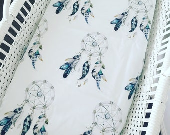 Fitted Bassinet Sheet - Dream Catchers for the boys. Will fit Moses basket